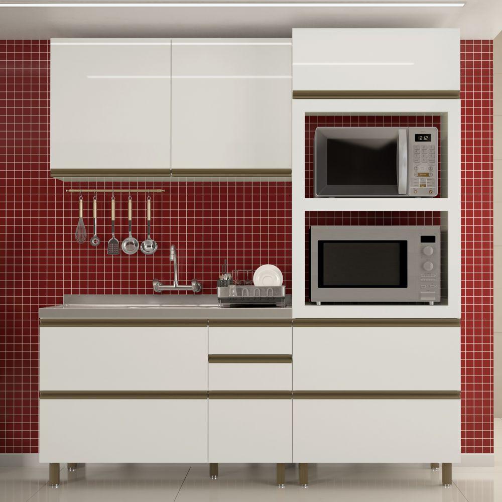 Cozinha Completa Modulada Vitória Ravena 3 Peças com Luzes LED MDF K107L Dalla Costa