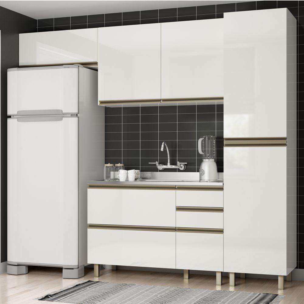 Cozinha Completa Modulada Vitória Vestone 4 Peças com Luzes LED MDF K109L Dalla Costa