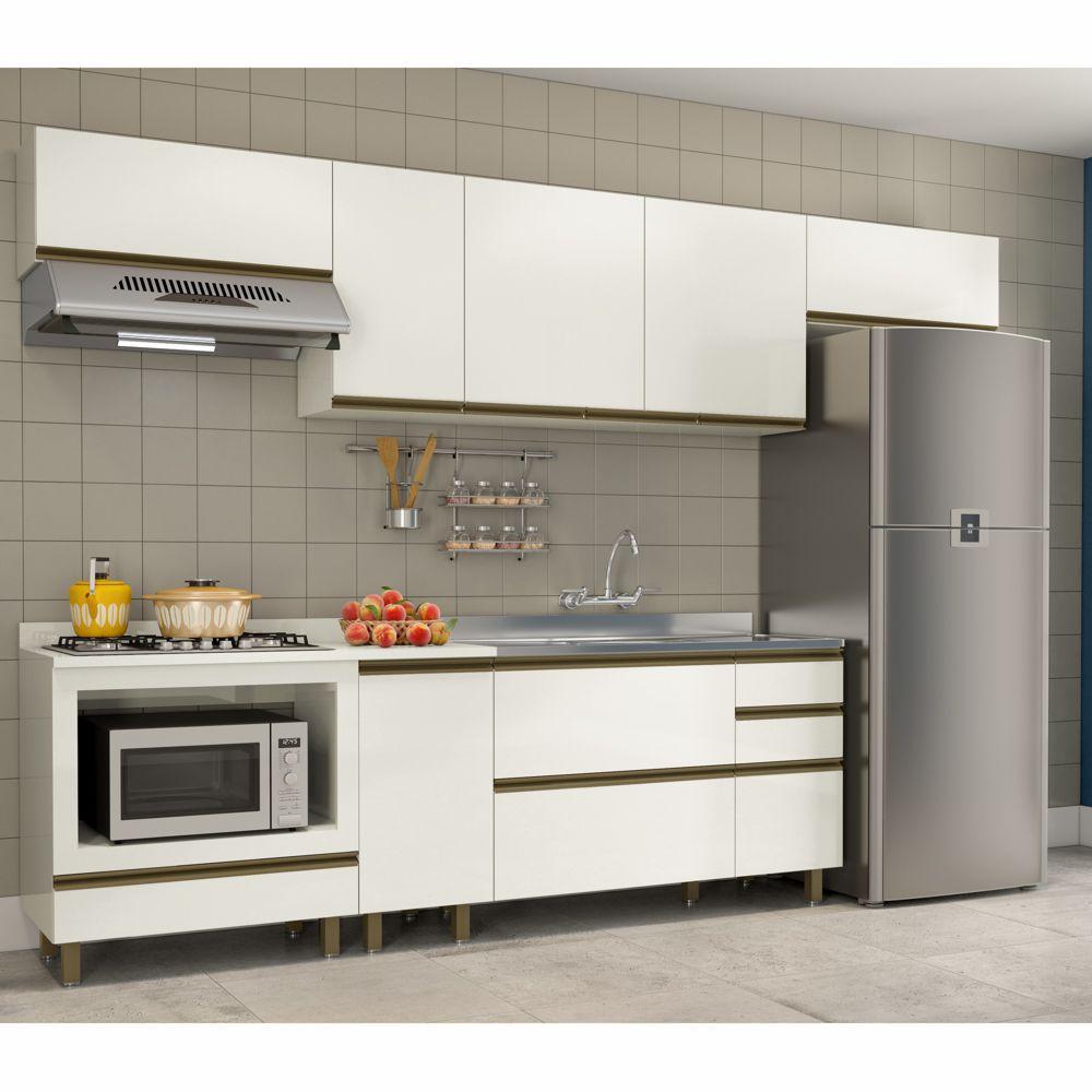 Cozinha Completa Modulada Vitória Vicenza 7 Peças com Luzes LED MDF K110L Dalla Costa