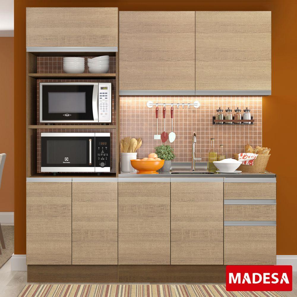 Cozinha Completa Planejada 3 peças Avelã Glamy Madesa