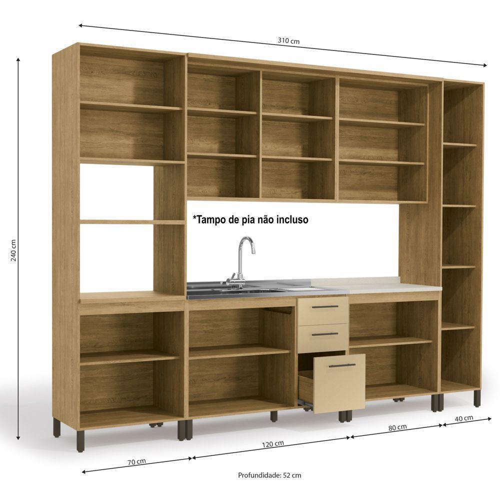Cozinha Modulada Completa 3,10m 7pc Áurea CB508 Kappesberg