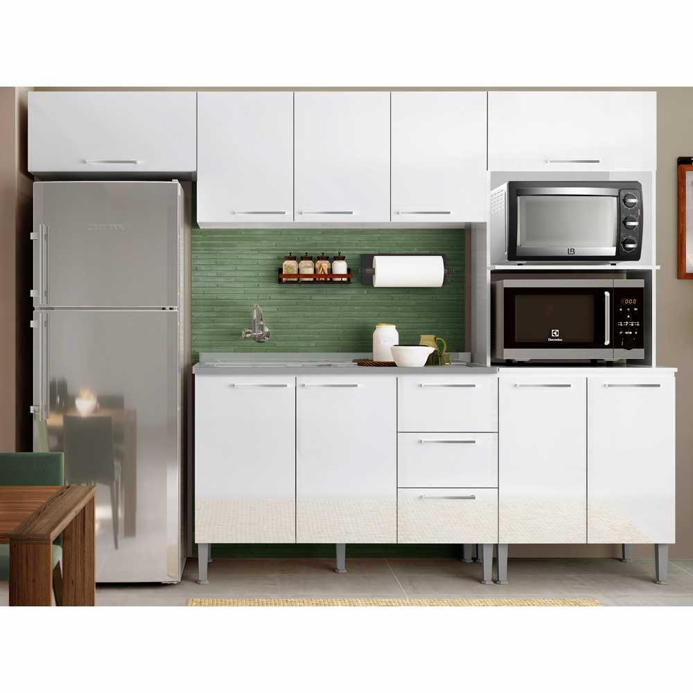 Cozinha Modulada Essência Bia 2,60m com 4pc Várias Cores GenialFlex