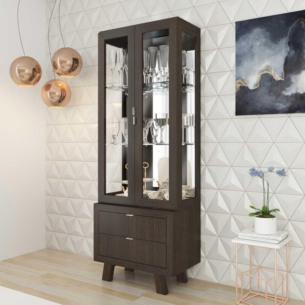 Cristaleira 2 portas com Espelhos e 2 Gavetas CR6001 Tecno Móbili