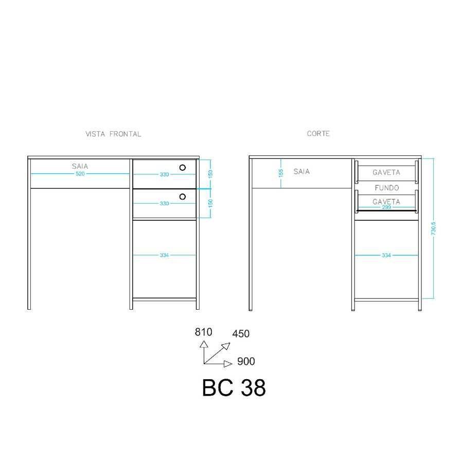 Escrivaninha 2 Gavetas 90cm BC 38 BRV Móveis