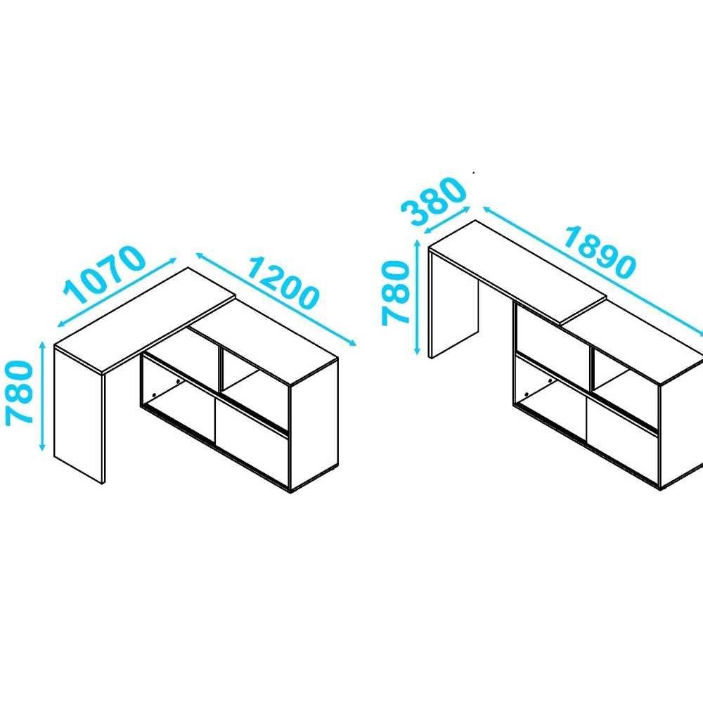 Escrivaninha Canto ou Extensível 2 Portas Correr BC 44 BRV Móveis