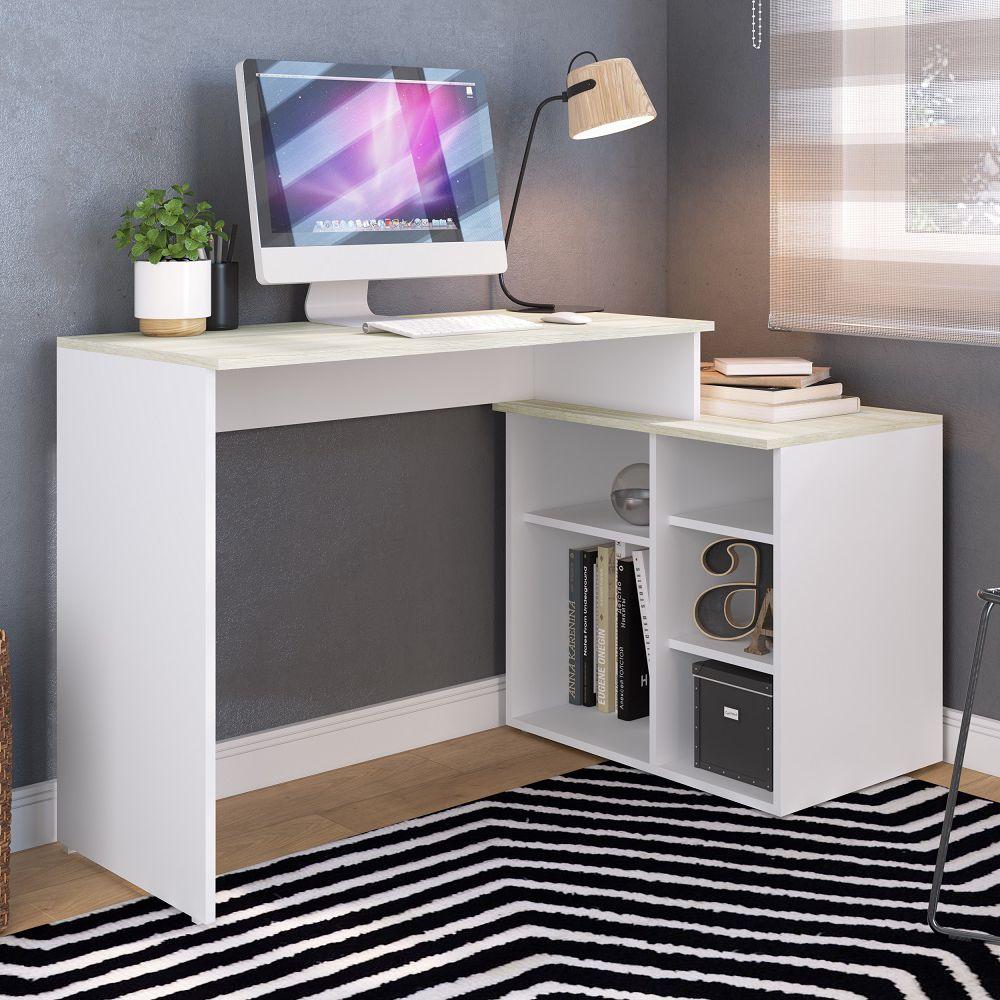 Escrivaninha de canto Multiuso 95cm 5 nichos para salas e escritórios Modern Office EST-E111 Estilare