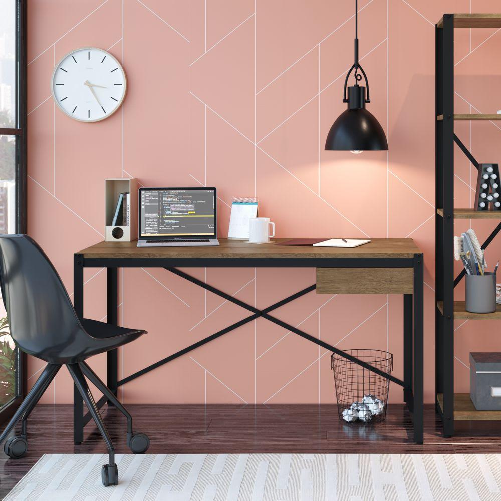 Escrivaninha Estilo Industrial Aço e Madeira 1,37m 14055 Steel Light Artesano