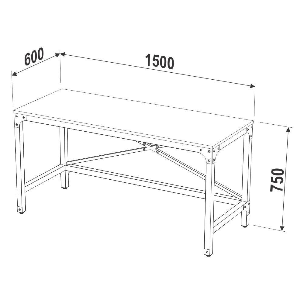 Escrivaninha Estilo Industrial Aço e Madeira 1,50m 14011 Steel Artesano