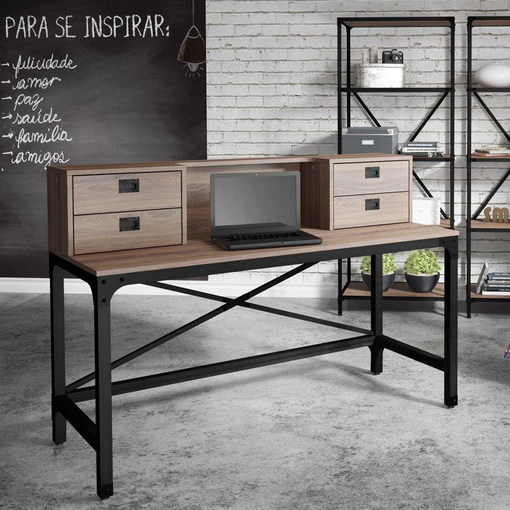 Escrivaninha Estilo Industrial Aço e Madeira 1,50m 4gav 14017 Steel Artesano