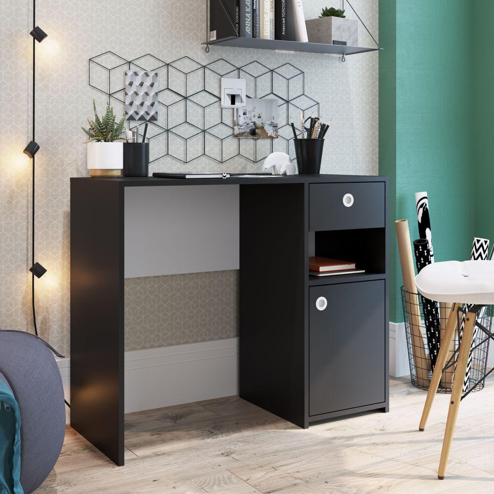 Escrivaninha Home Office Compacta 90cm com porta e gaveta Coimbra ES908 Art in Móveis