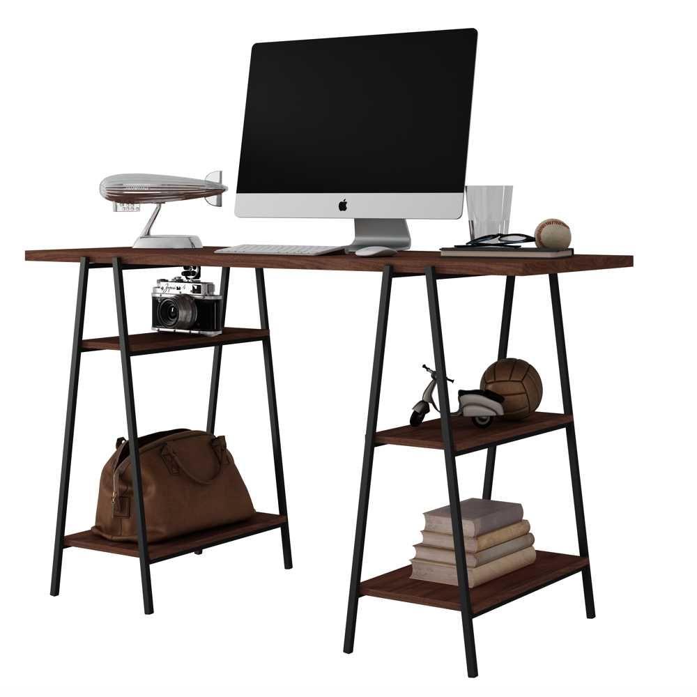 Escrivaninha Mesa Computador Cavaletes de Aço 135cm BC 60 BRV Móveis