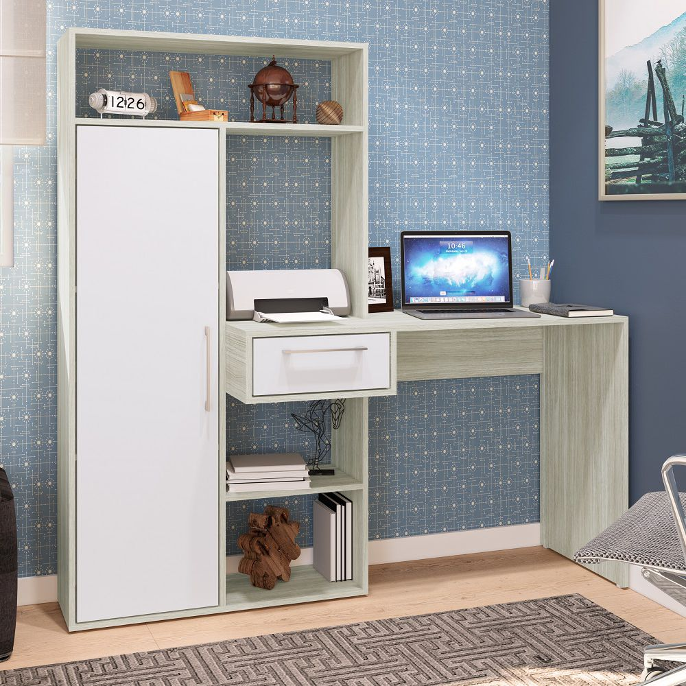 Escrivaninha Multiuso 1,50m 1 porta 1 gaveta para salas e escritórios Modern Office EST-E112 Estilare