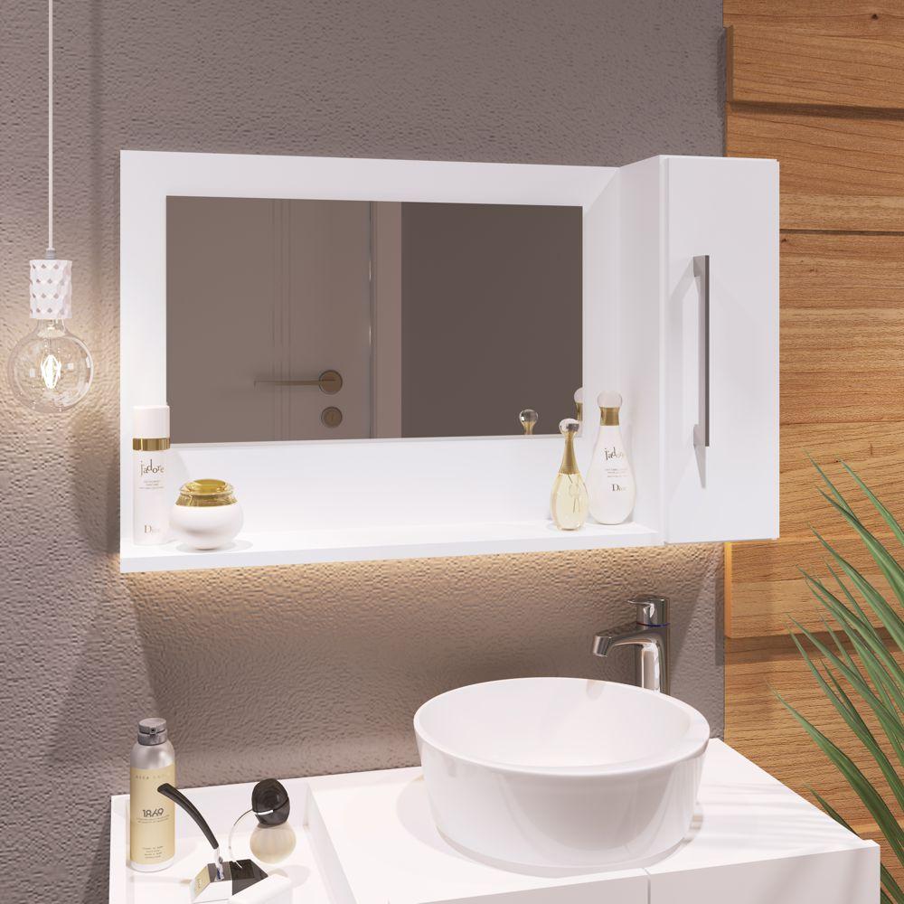 Espelheira para Banheiro Berilo 75x45cm 1 porta 10200370 Estilare