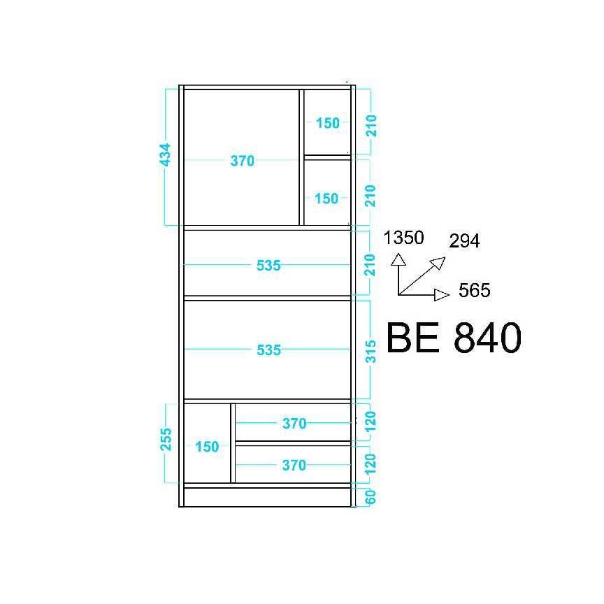 Estante 8 Nichos 56x135cm BE 840 BRV Móveis
