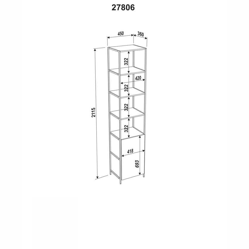 Estante Aço e MDF 1 Porta 27806 Steel Quadra Artesano