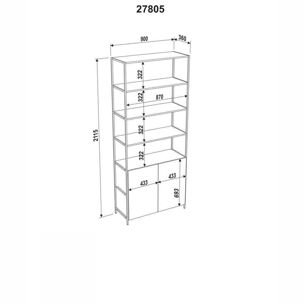 Estante Aço e MDF 2 Portas 27805 Steel Quadra Artesano