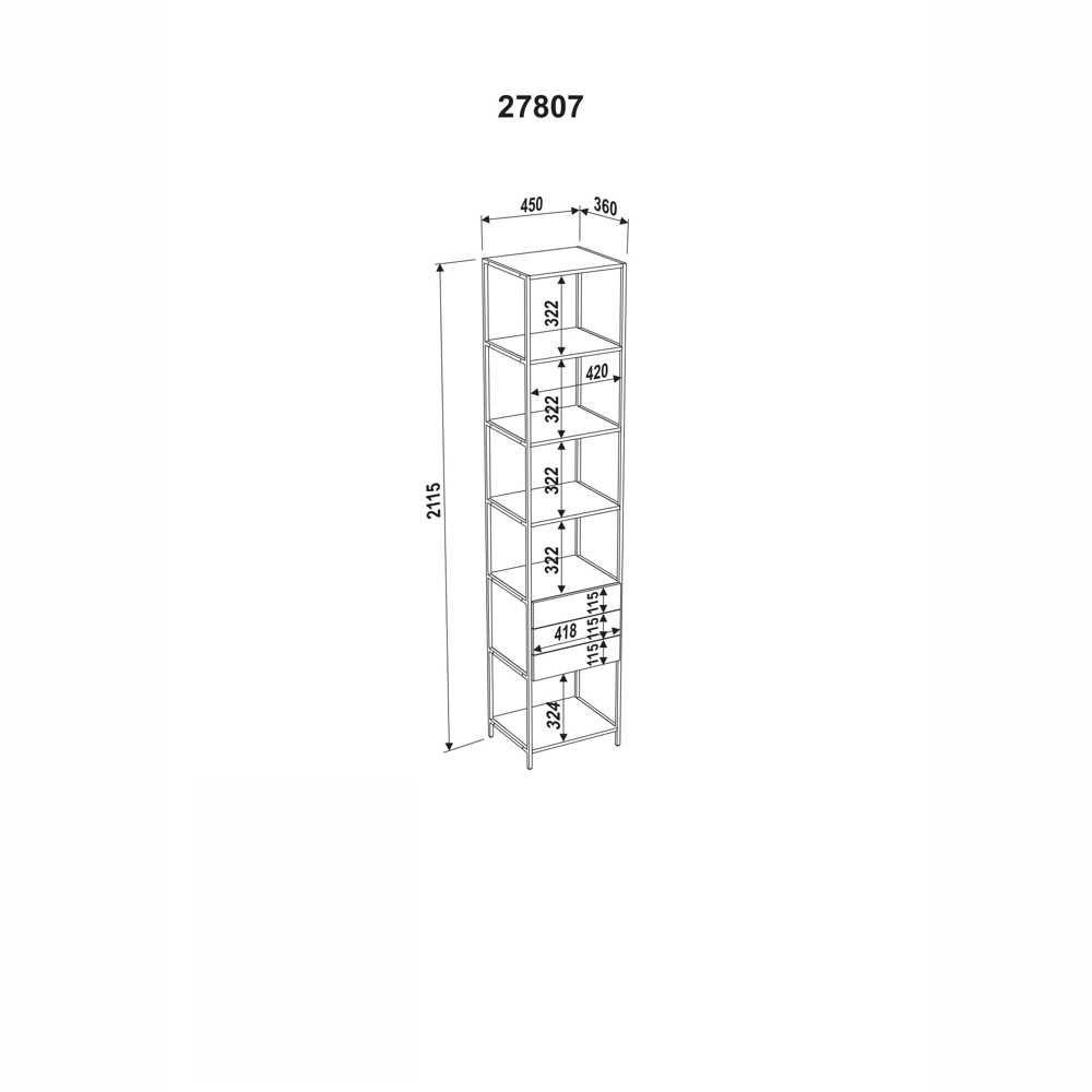Estante Aço e MDF 3 Gavetas 27807 Steel Quadra Artesano