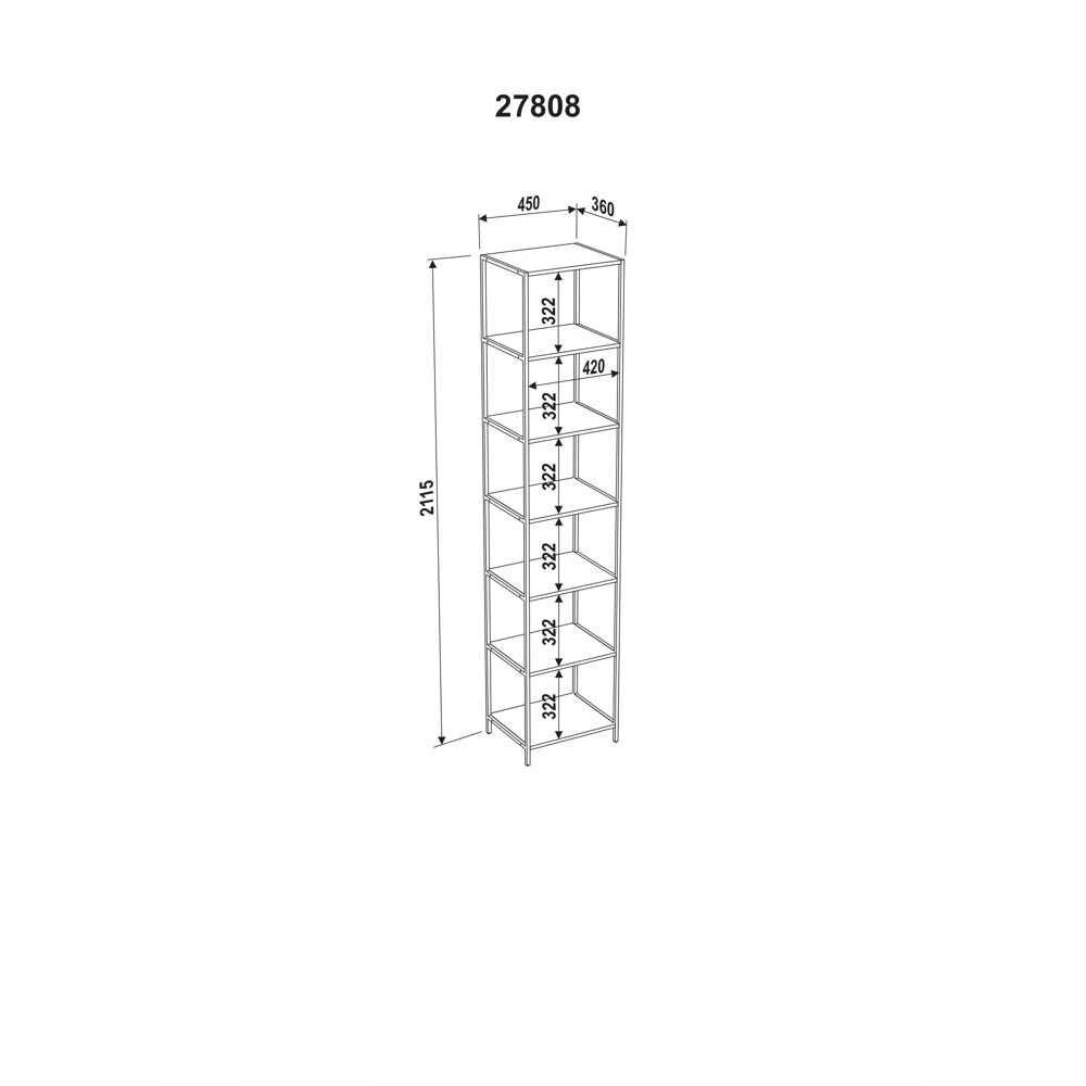 Estante Aço e MDF 6 Prateleiras 27808 Steel Quadra Artesano