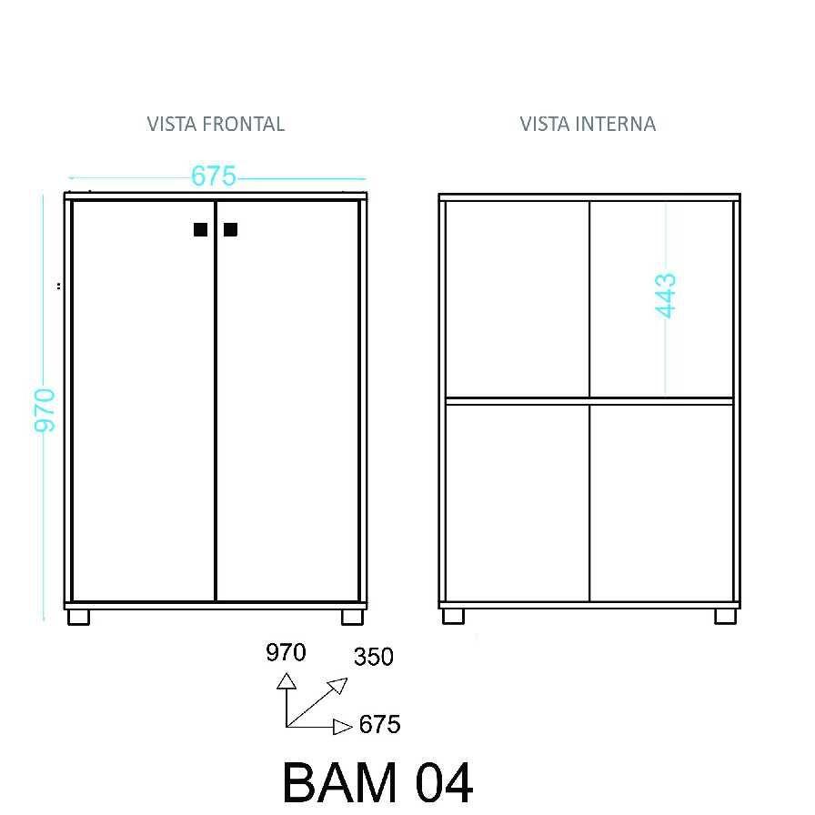 Estante Armário com Portas Baixo 67cm BAM 04 BRV Móveis