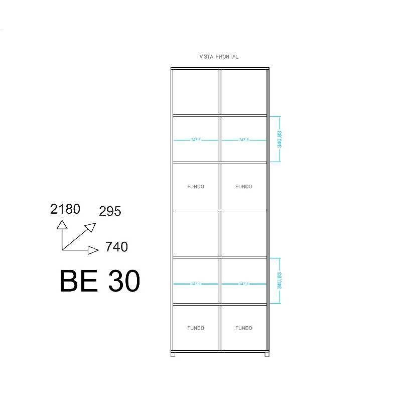 Estante Colméia Grande 12 Nichos 74x218cm BE 30 BRV Móveis