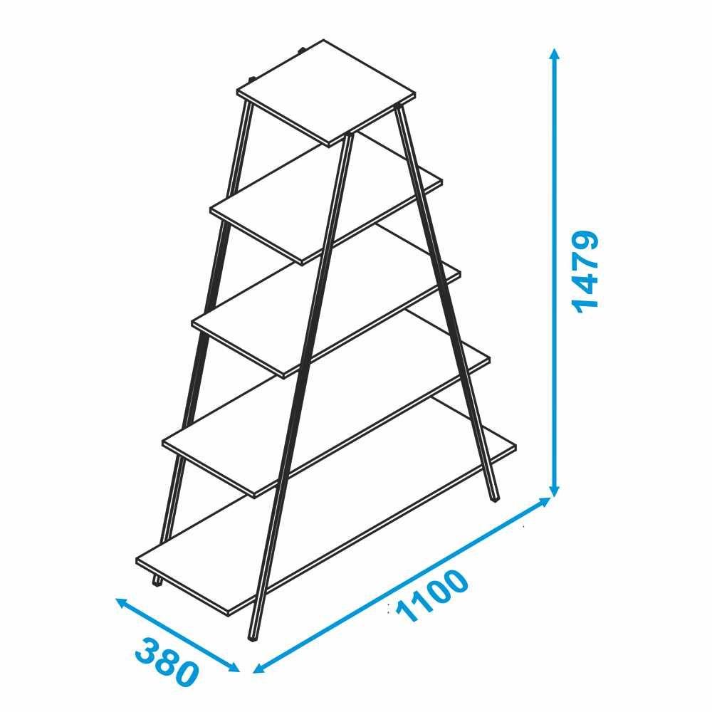 Estante Escada 5 Prateleiras Estrutura de Aço BE 64 BRV Móveis