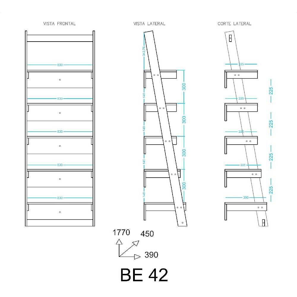 Estante Escora 5 Prateleiras 63cm BE 42 BRV Móveis