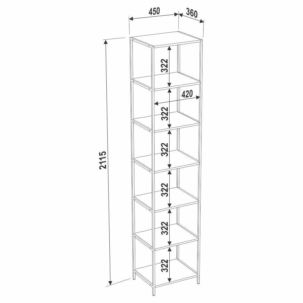 Estante Estilo Industrial 45cm com 6 Prateleiras 27808 Steel Quadra Artesano