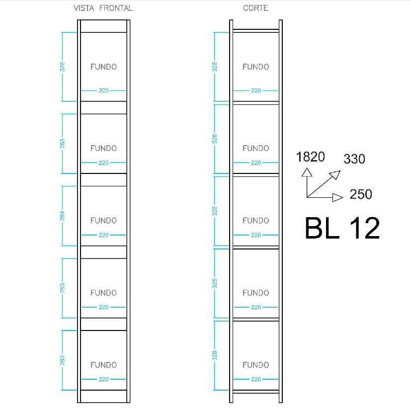 Estante Livreiro Componível 5 Prateleiras 25x182cm BL 12 BRV Móveis