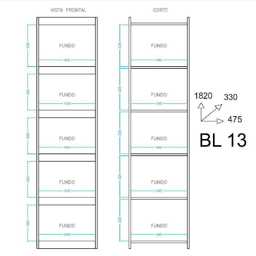 Estante Livreiro Componível 5 Prateleiras 47x182cm BL 13 BRV Móveis