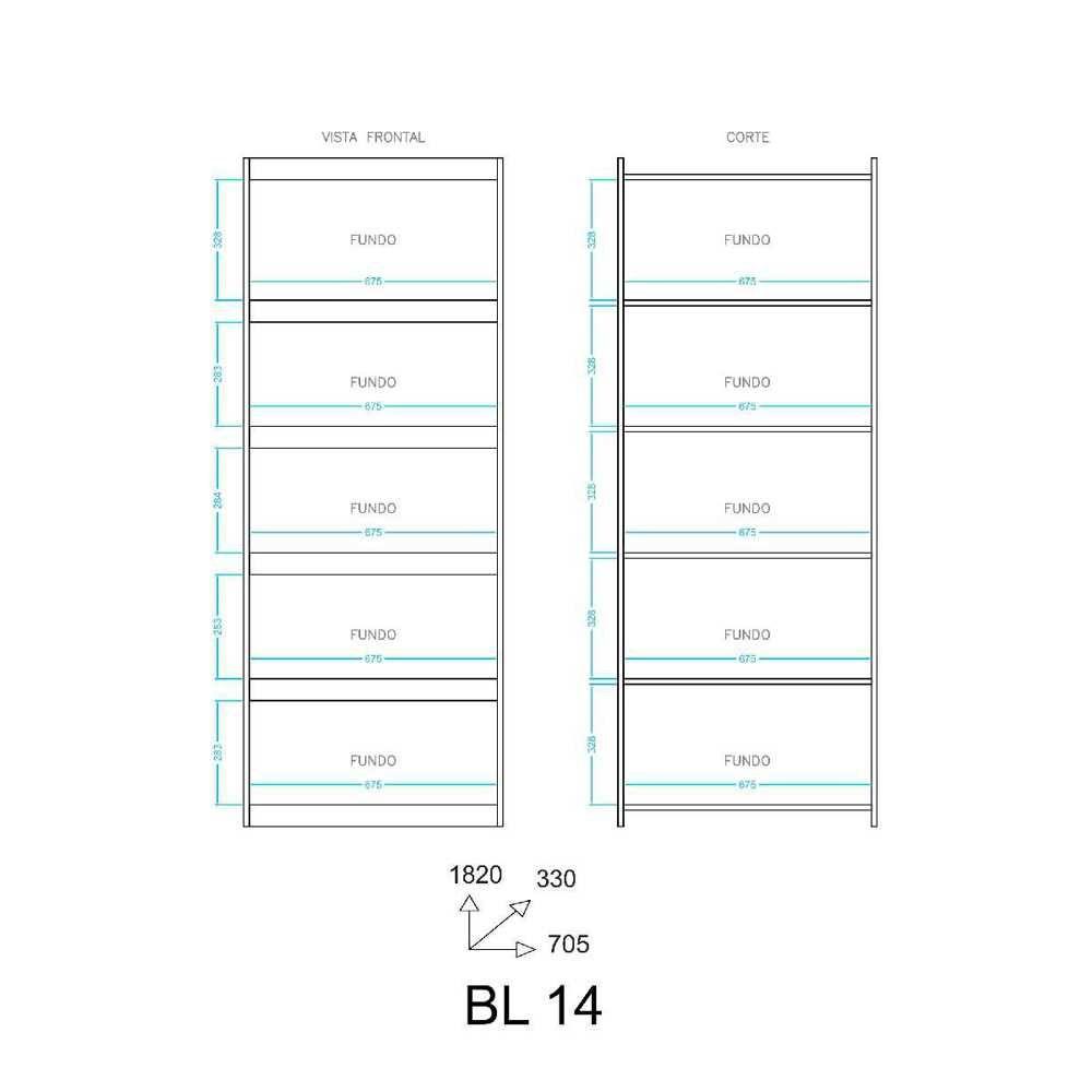 Estante Livreiro Componível 5 Prateleiras 70x182cm BL 14 BRV Móveis