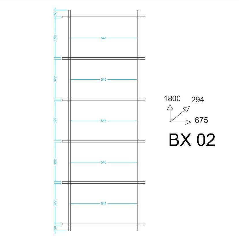 Estante Livreiro de Encaixe 67x180cm Piso ou Suspensa BX 02 BRV Móveis