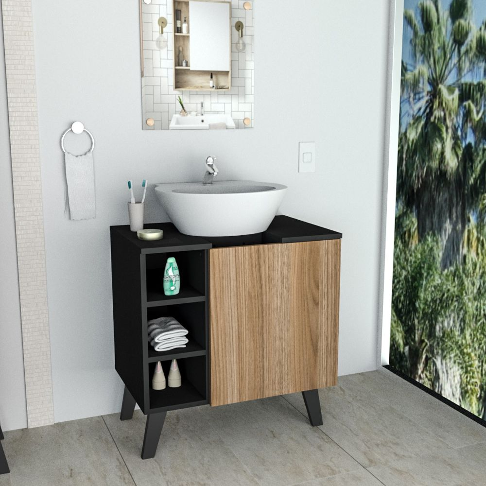 Gabinete para Banheiro 3 Nichos 1 Porta BAC5000 Slim Appunto Móveis