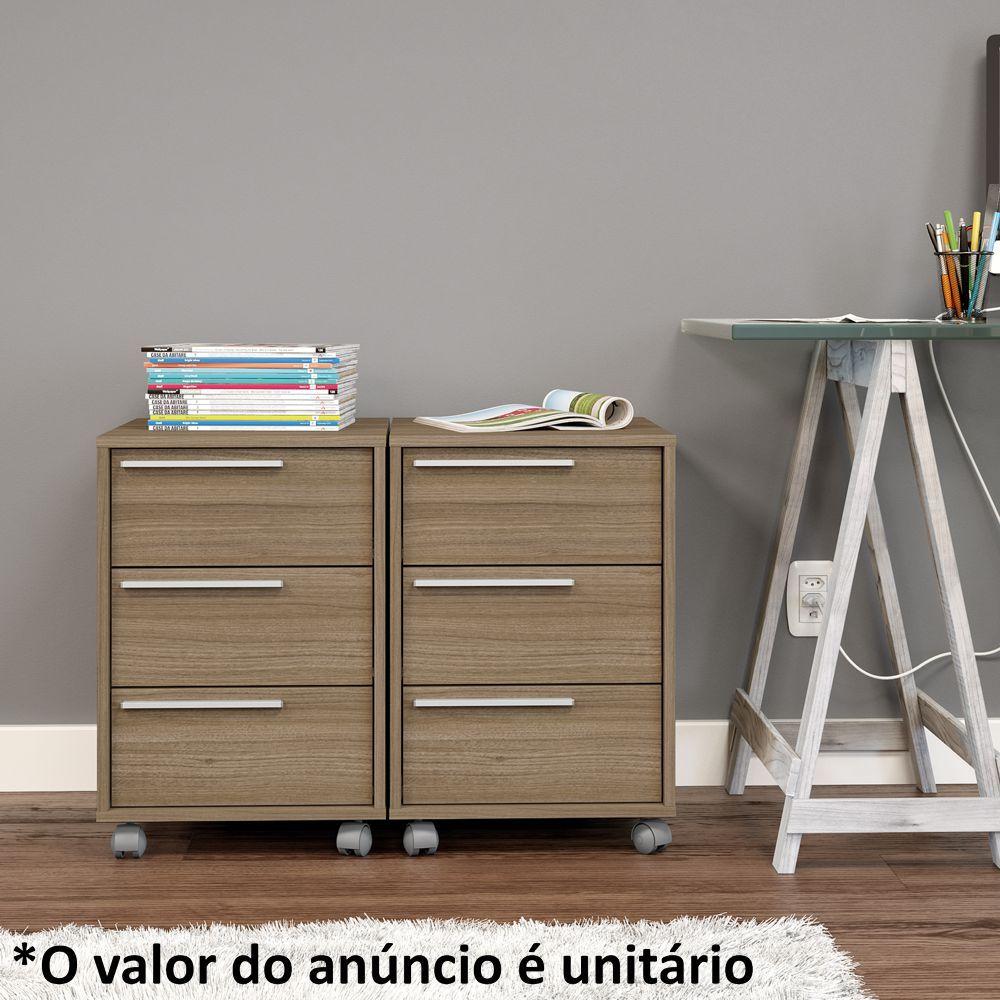 Gaveteiro Colorido 3 Gavetas com Rodízio Maia Politorno