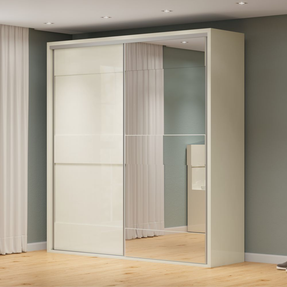 Guarda Roupa Porta Correr 2,23m 2 Portas Espelho 100% MDF TW202E Dalla Costa