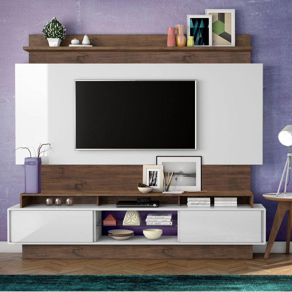 Home Theater com Painel para TV 220cm 2 Portas Correr TB113 Dalla Costa