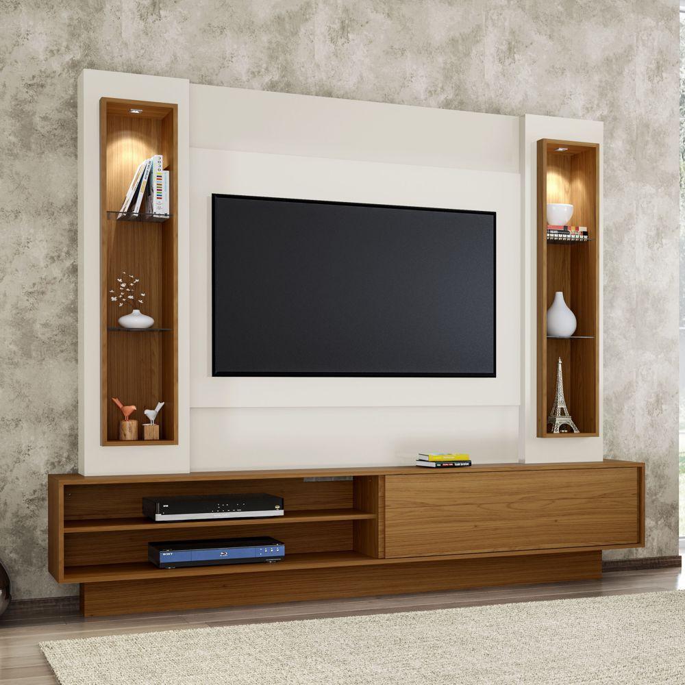 Home Theater TV com Painel 220cm 1 porta correr iluminação LED TB129L Dalla Costa