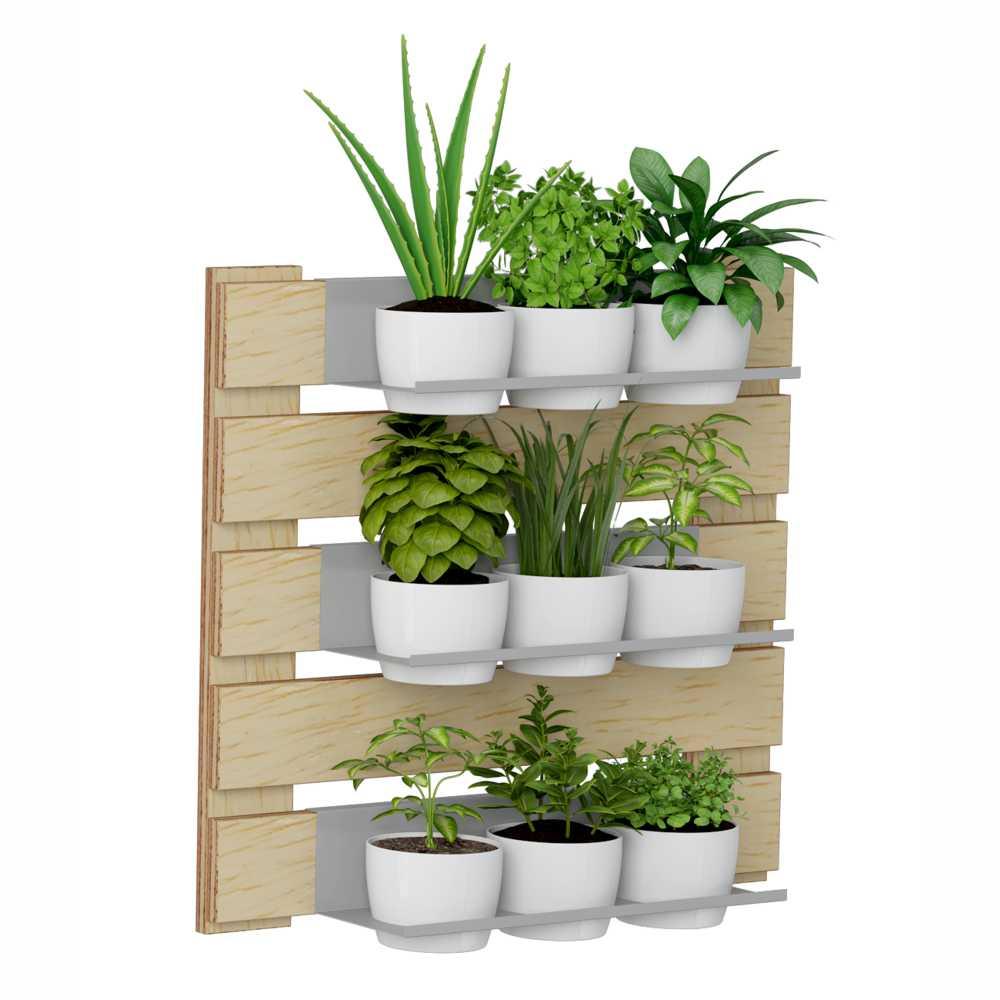 Jardim Vertical  3 Prateleiras para Vasos 60cm 1008 Green BE Móveis