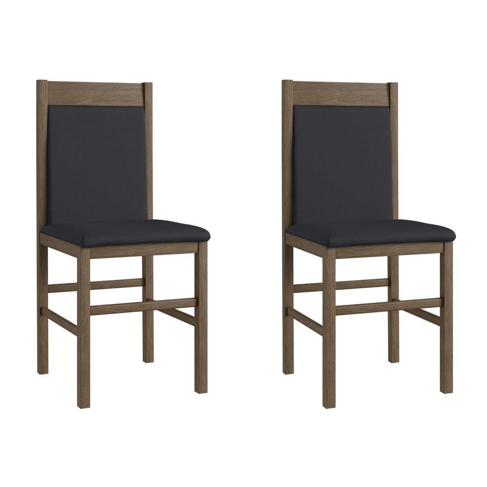 Kit com 2 Cadeiras de Madeira com assento e encosto estofados 41x45cm Ref. 600 Canção