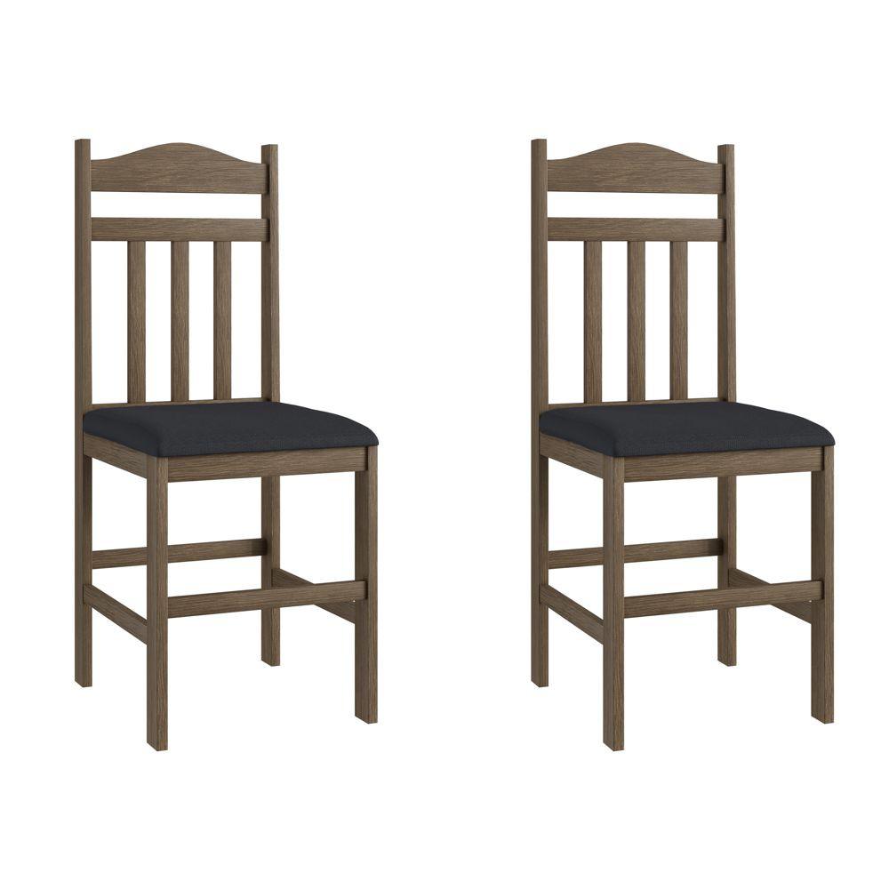 Kit com 2 Cadeiras de Madeira com assento estofado 40x43cm Ref. 200 Canção