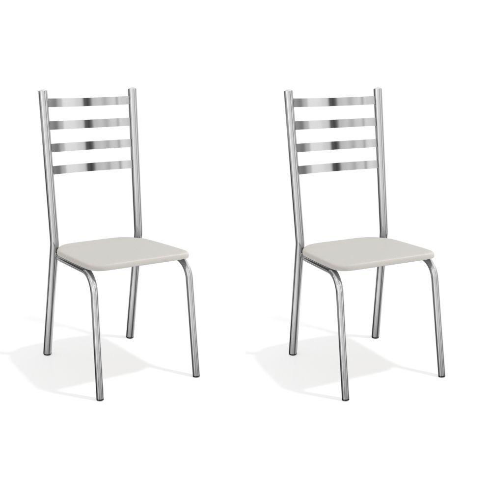 Kit com 2 Cadeiras Estofadas Alemanha Cromada 2C086CR Kappesberg