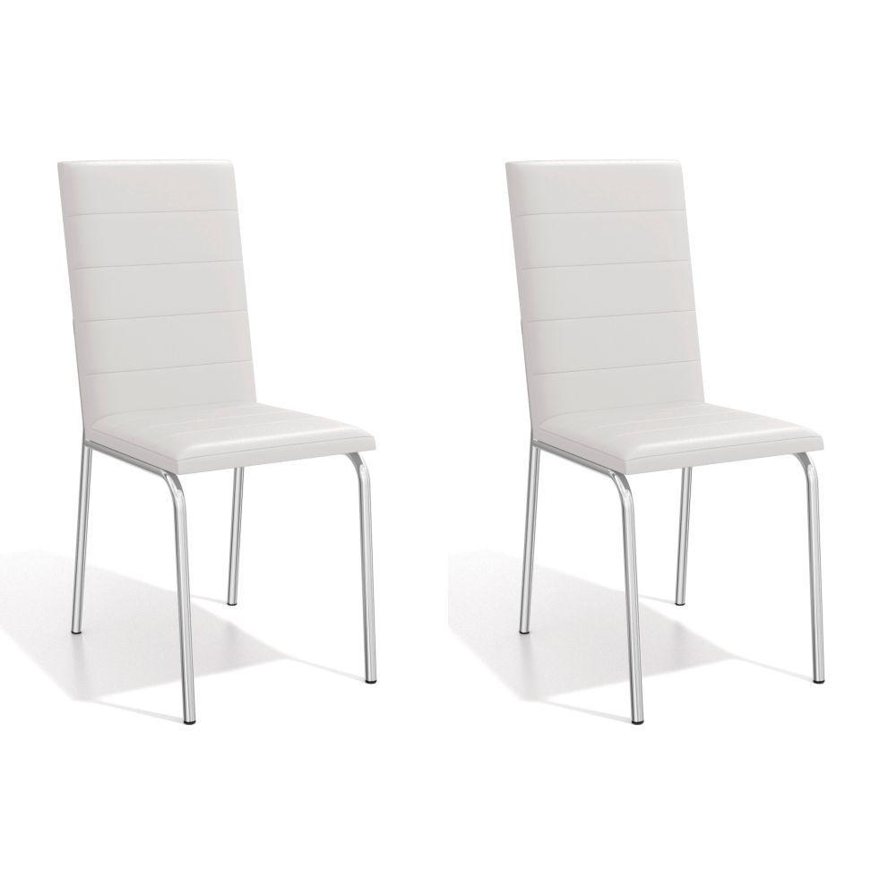Kit com 2 Cadeiras Estofadas Amsterdã Cromada 2C091CR Kappesberg