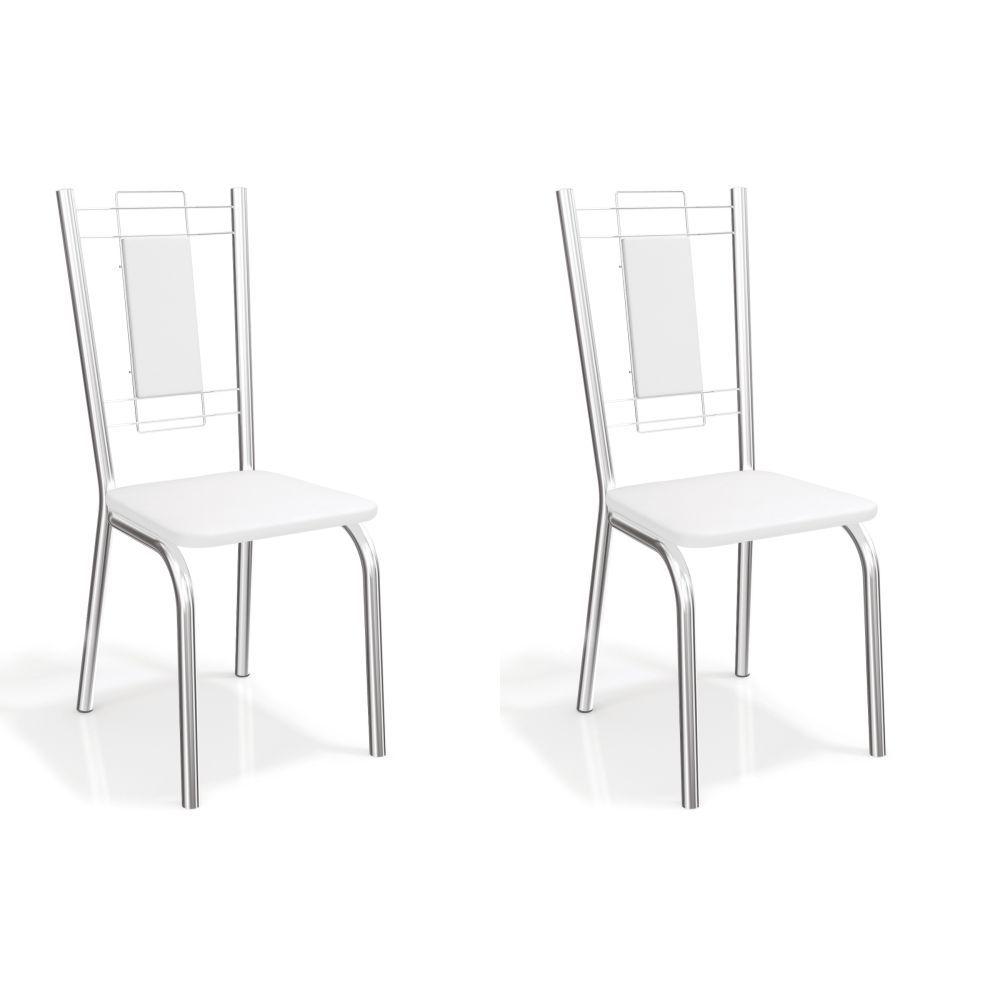 Kit com 2 Cadeiras Estofadas Florença Cromada 2C005CR Kappesberg Crome