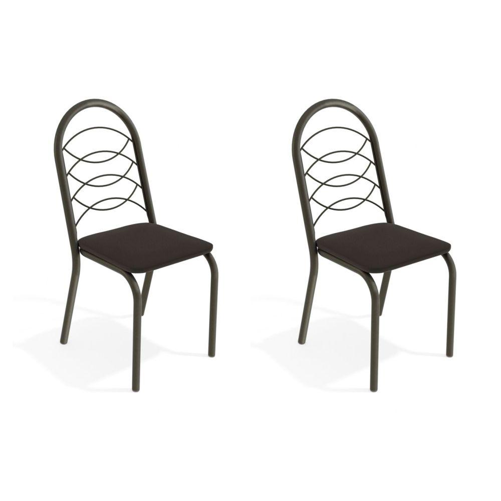 Kit com 2 Cadeiras Estofadas Holanda Cor Bronze 2C009BRZ Kappesberg Crome