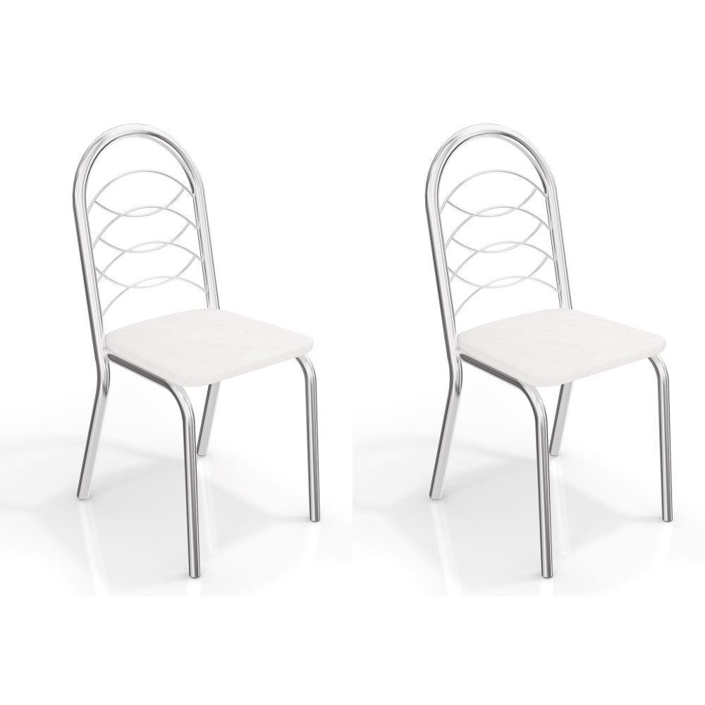 Kit com 2 Cadeiras Estofadas Holanda Cromada 2C009CR Crome Kappesberg