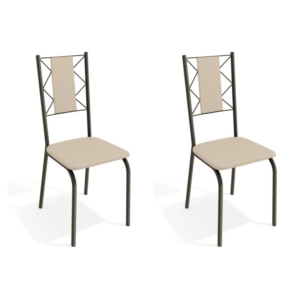Kit com 2 Cadeiras Estofadas Lisboa Cor Bronze 2C076BRZ Kappesberg Crome