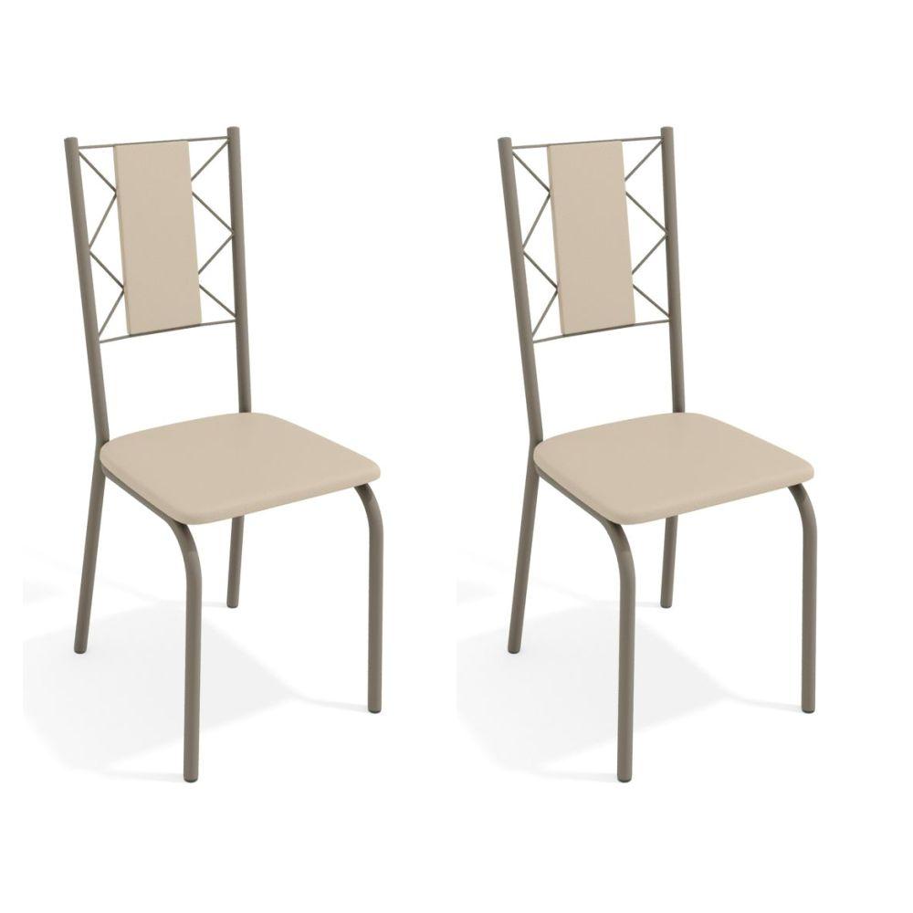 Kit com 2 Cadeiras Estofadas Lisboa Cor Nickel 2C076NK Kappesberg Crome