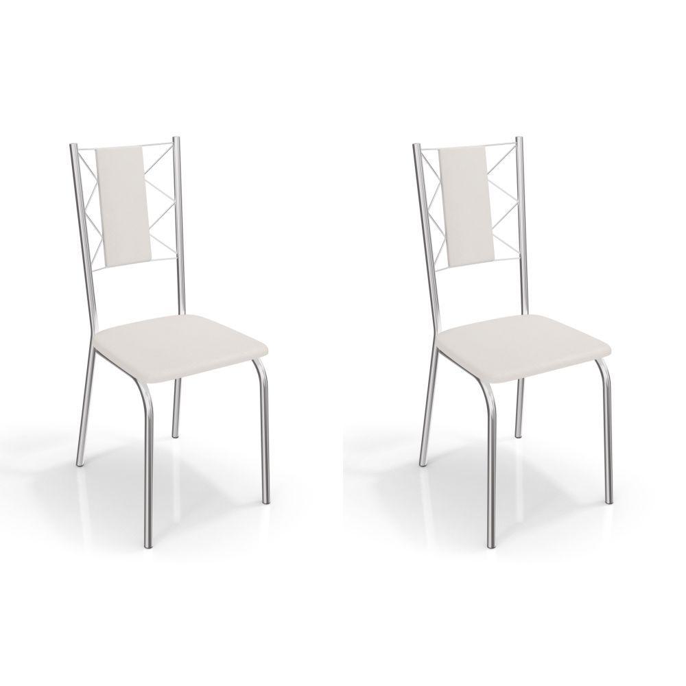 Kit com 2 Cadeiras Estofadas Lisboa Cromada 2C076CR Kappesberg