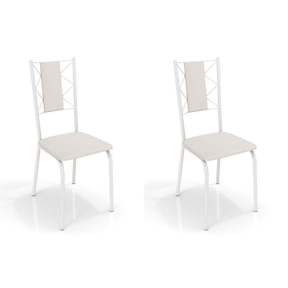 Kit com 2 Cadeiras Estofadas Lisboa Pintada 2C076 Crome Kappesberg