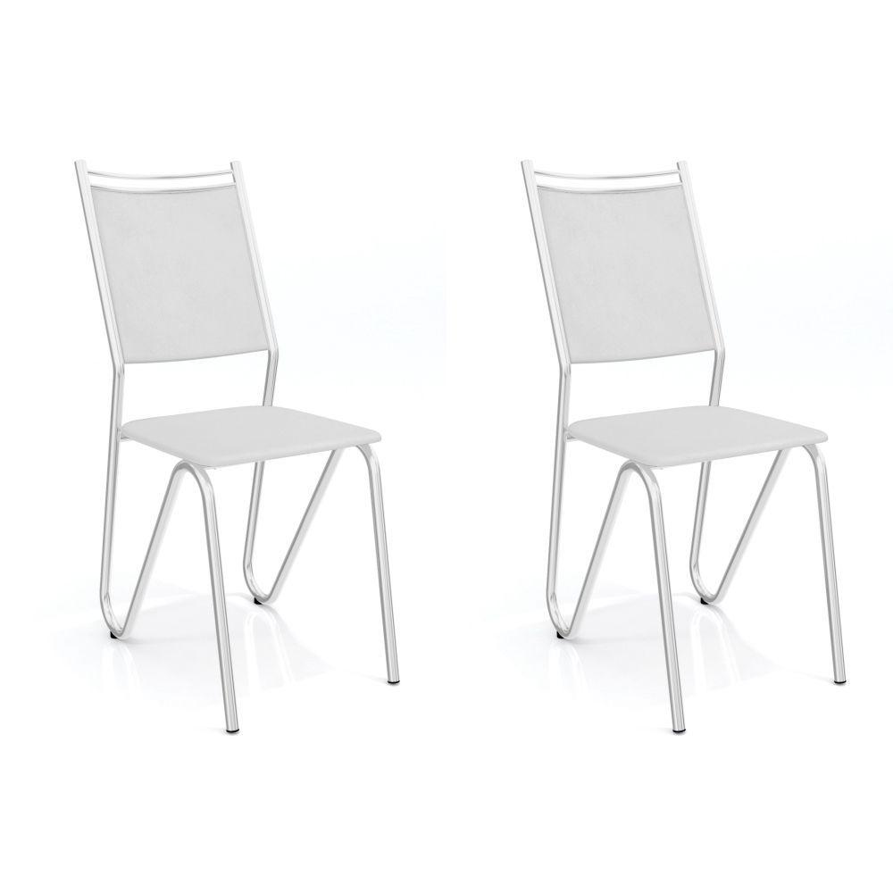 Kit com 2 Cadeiras Estofadas Londres Cromada 2C056CR Kappesberg