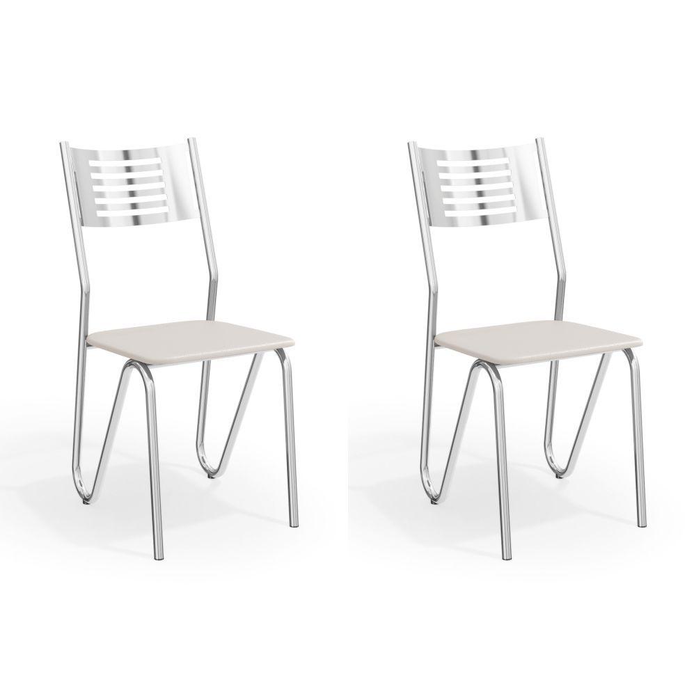 Kit com 2 Cadeiras Estofadas Nápoles Cromada 2C045CR Kappesberg